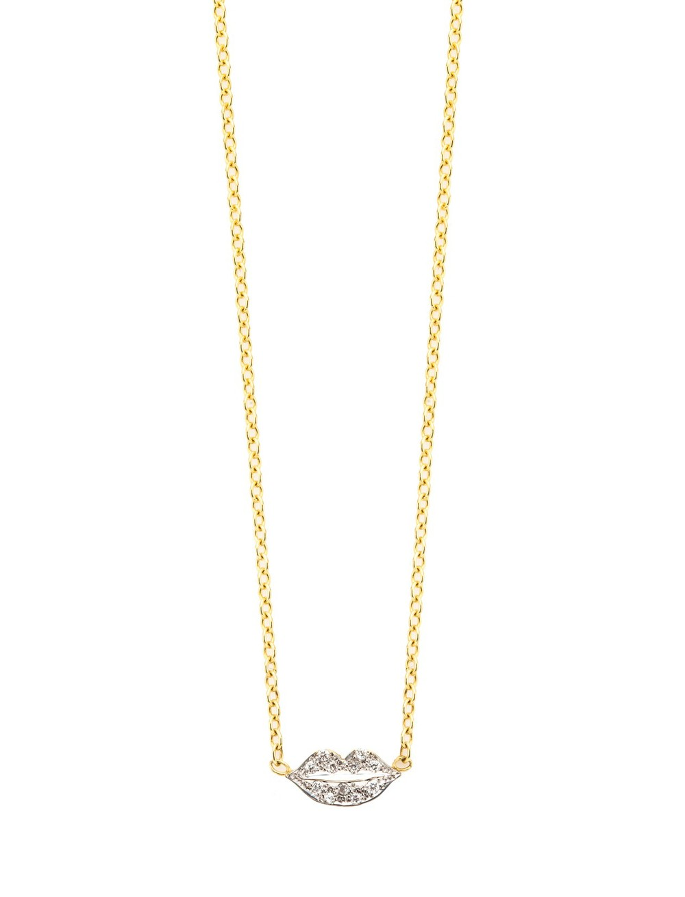 Kacey K lips necklace with   white pave diamonds, $450