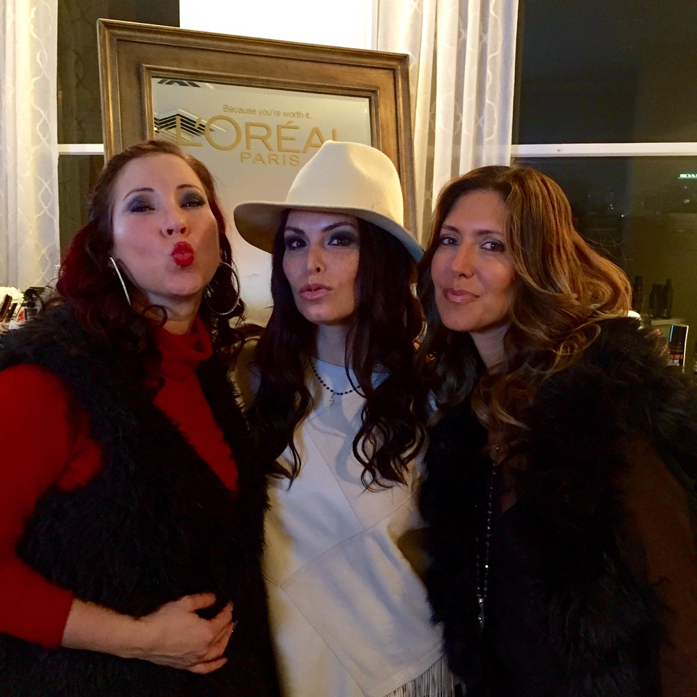 At the L'Oreal Paris (post Golden Globes event) with beauty scouts  Romy Raves  and  Stacy Cox.