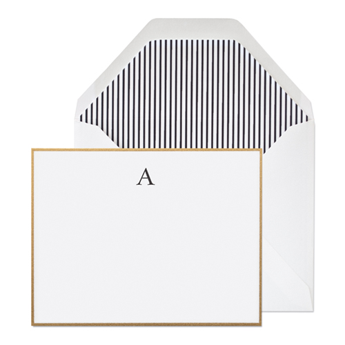 Sugar paper Ashton Monogram, $30.00 . Black ink on a bright white card with a gold border, paired with a white envelope and black and white pinstripe liner. 6 flat cards + 6 envelopes. Dimensions: 5.5 x 4.25 inches