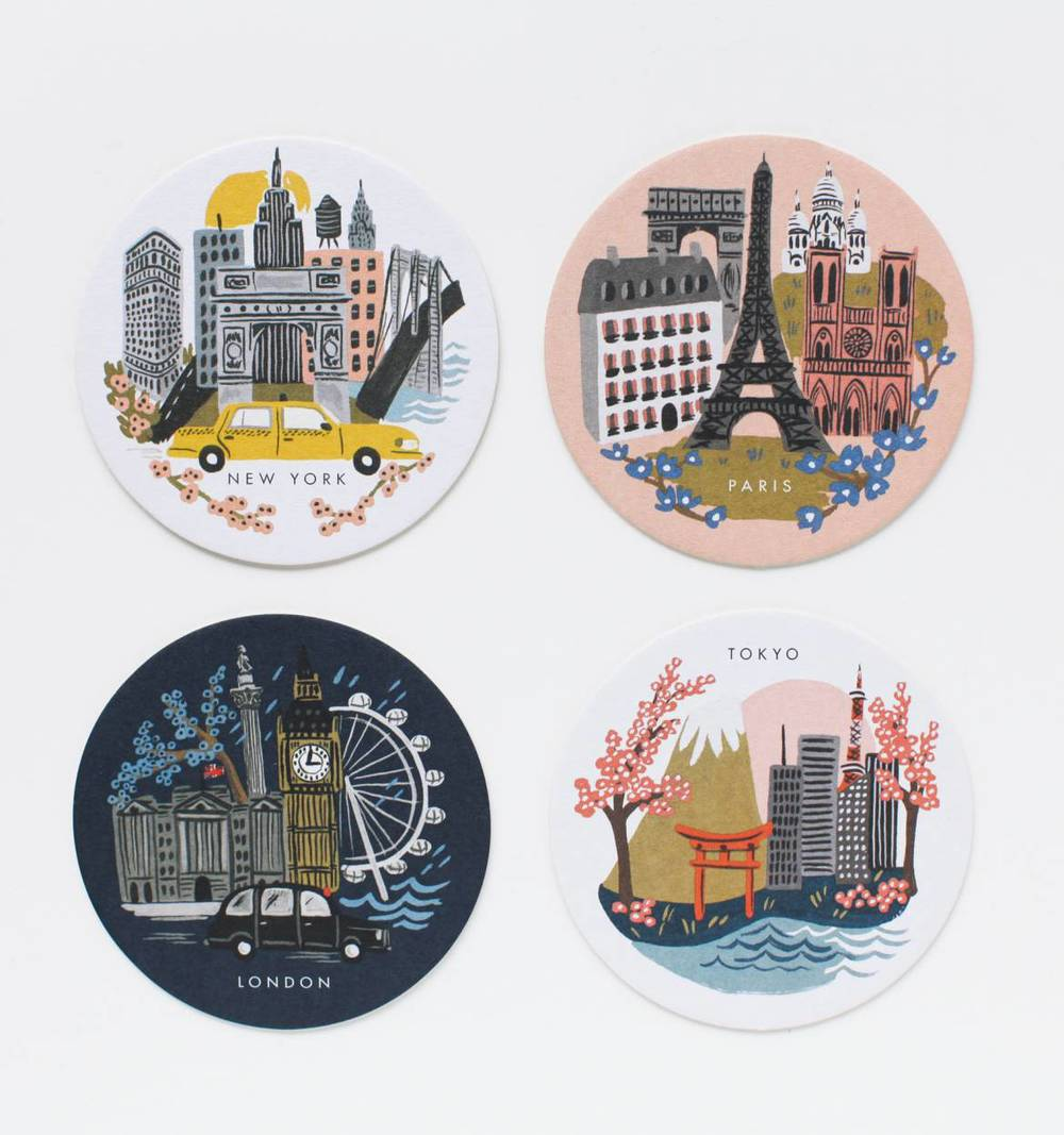 Rifle Paper Co. Cities Coaster Set, $16