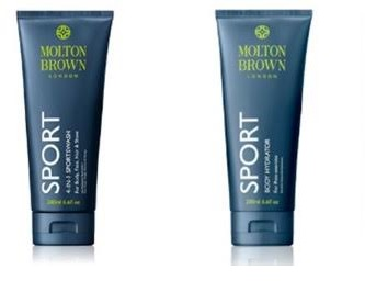 Molton Brown 4-in-1 Sportswash, $24 ,   Molton Brown Sport Body Hydrator, $26