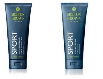 Molton Brown 4-in-1 Sportswash, $24,Molton Brown Sport Body Hydrator, $26