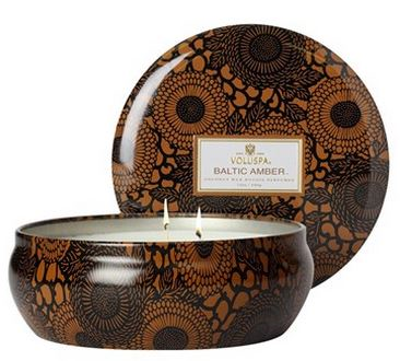 "Voluspa Japonica Baltic Amber Candle, $18. 12 oz. 60-hour burn time. 21/4""H with 16"" circumference."