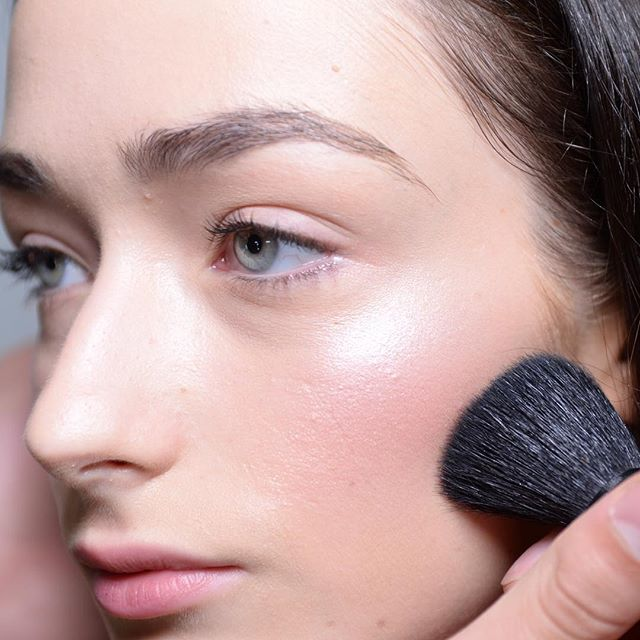 Natural glowing make-up look from NYFW. Lead make-up artist Uzo for NARS at the Tanya Taylor SS'16 show.