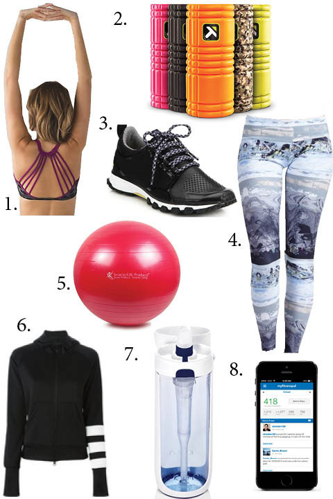 1. Lululemon Sports Bra, $48 2. Triggerpoint Performance Foam Roller, $40 3. adidas by Stella McCartney Adizero XT Sneakers, $180 4. Onzie Long Leggings, $65 5. SmarterLife Products Fitness and Stability Ball, $25 6. Y3 Striped Sleve Hoodie, $255 7. KOR Nava Filtered Reusable Water bottle, $22 8. My Fitness Pal App
