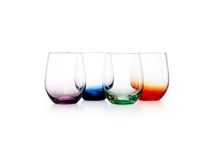 The Cellar Set of 4 Assorted Colors Stemless Wine Glasses, Reg. $43, on sale for $24.99