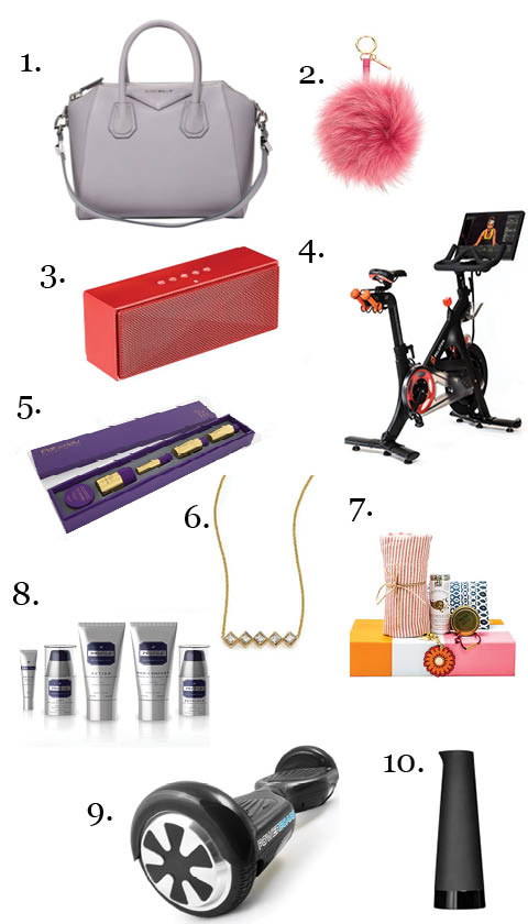 1.  Givency Antigona Mini Leather Satchel  2.  Fendi Pom Pom Keychain  3.  AmazonBasics Portable Bluetooth Speaker  4.  Peloton bike and membership  5.  Pai Shau Ritual Box  6.  Zoe Chicco Gold Bar Necklace  7.  Tory Burch Foundation Seed Box  8.  Powerboard by HOVERBOARD  9.  Profile Road Rescue Kit  10.  Keep Cold Carafe from Tweak