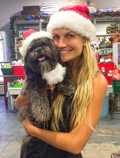 Heather Dorak, Founder of Pilates Platinum and her dog Sadie