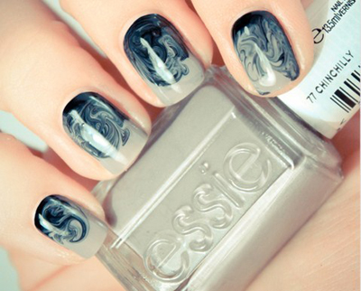 Use  essie Chinchilly  and essie Licorice to recreate this look.