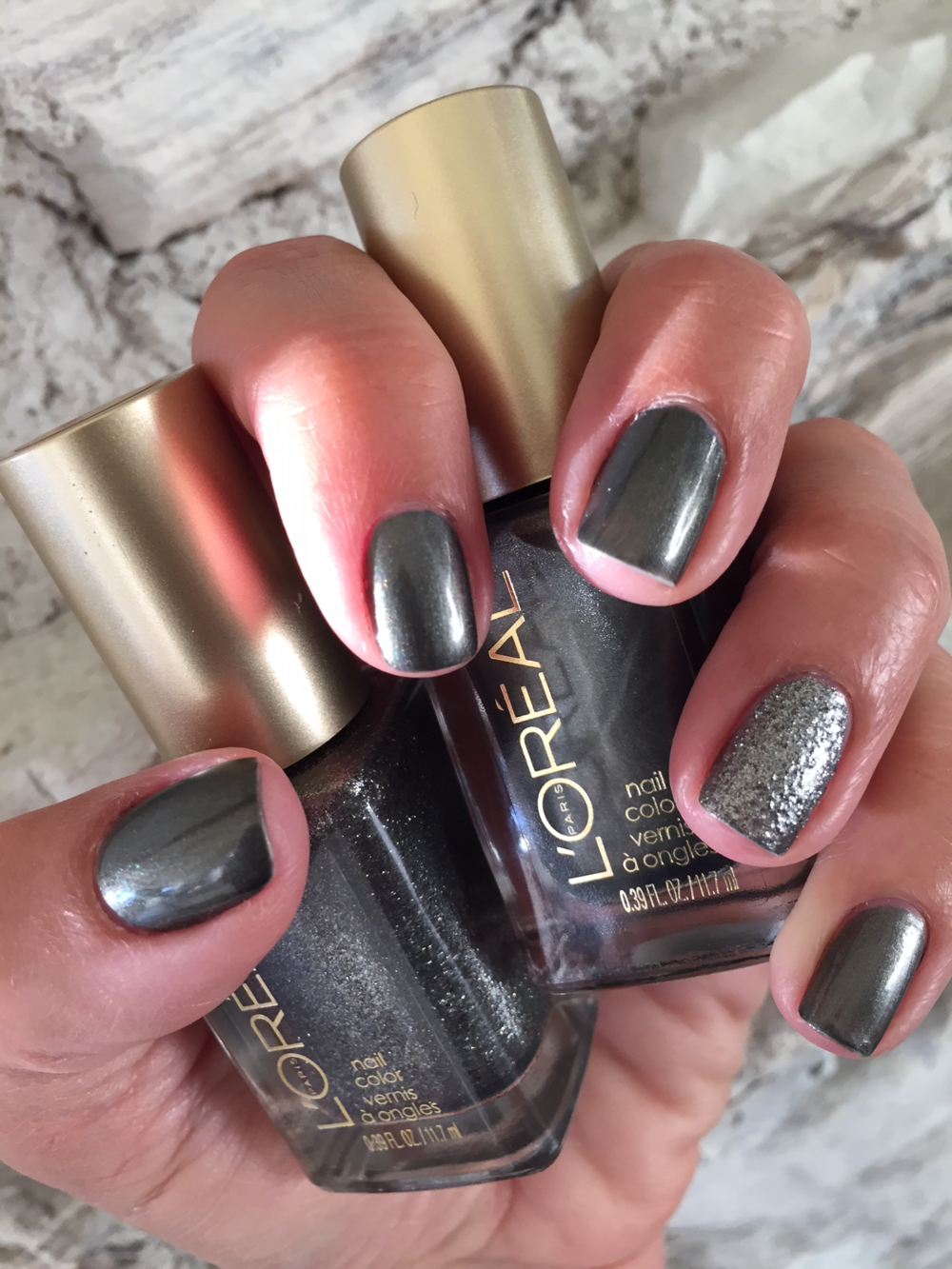 L'Oreal Nail Color, Miss Grey - 707, Caution Please (textured accent nail) - 702