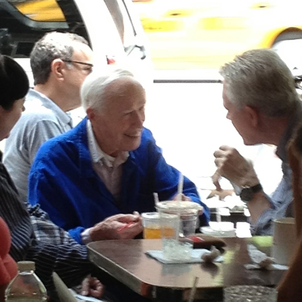 Bill Cunningham and friend eating breakfast at Effy's in NYC