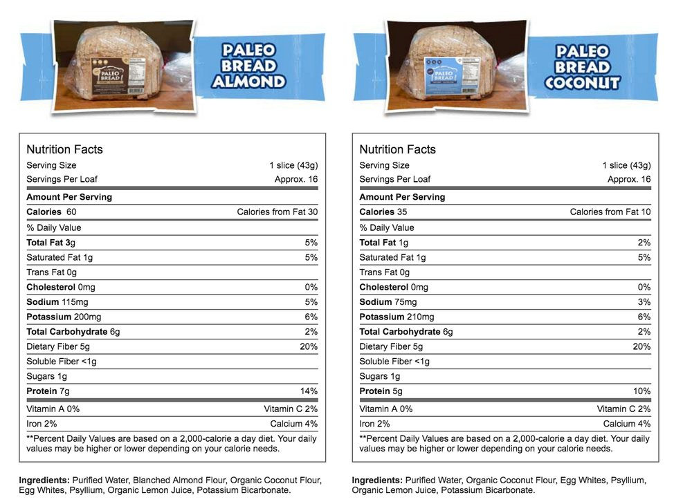 [Image Source]    * The Paleo Bread is baked in a dedicated Gluten Free facility.   ** Since Coconut is not a nut, Paleo Bread Coconut is Starch and Nut free.
