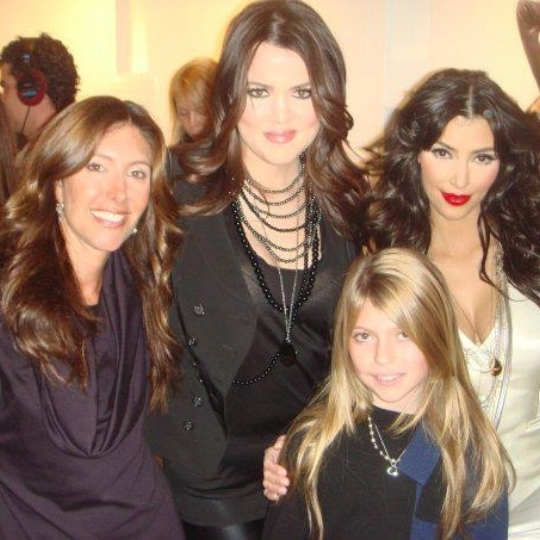 With my daughter Rachel, Khloe and Kim Kardashian at the Alice + Olivia fashion presentation