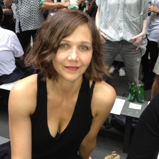 Snapped this one of Maggie Gyllenhaal front row at the Rag + Bone fashion show.