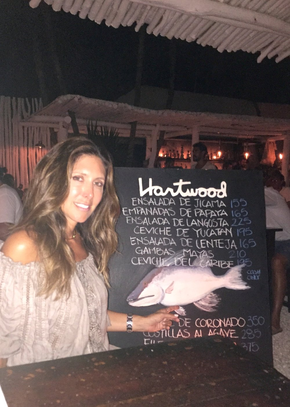 Dinner at Hartwood Tulum. All entrees are cooked on an open fire and wood burning oven and grill.