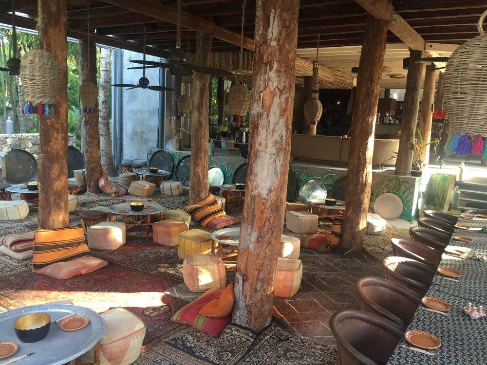 Bohemian vibes inside the Hotel Nomad Tulum.