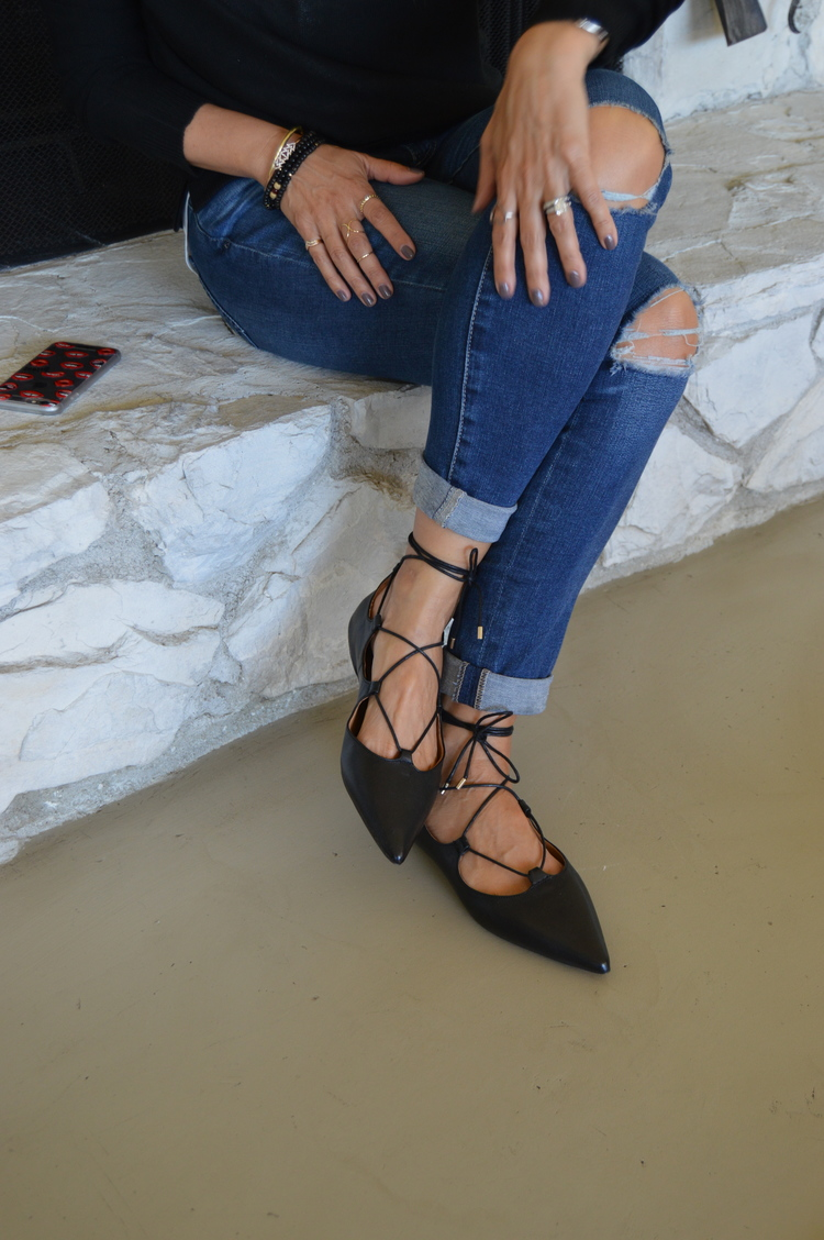 Pointy toe lace-up ballet flats ,  AG jeans