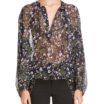 Metallic Floral Print Silk Blend Blouse