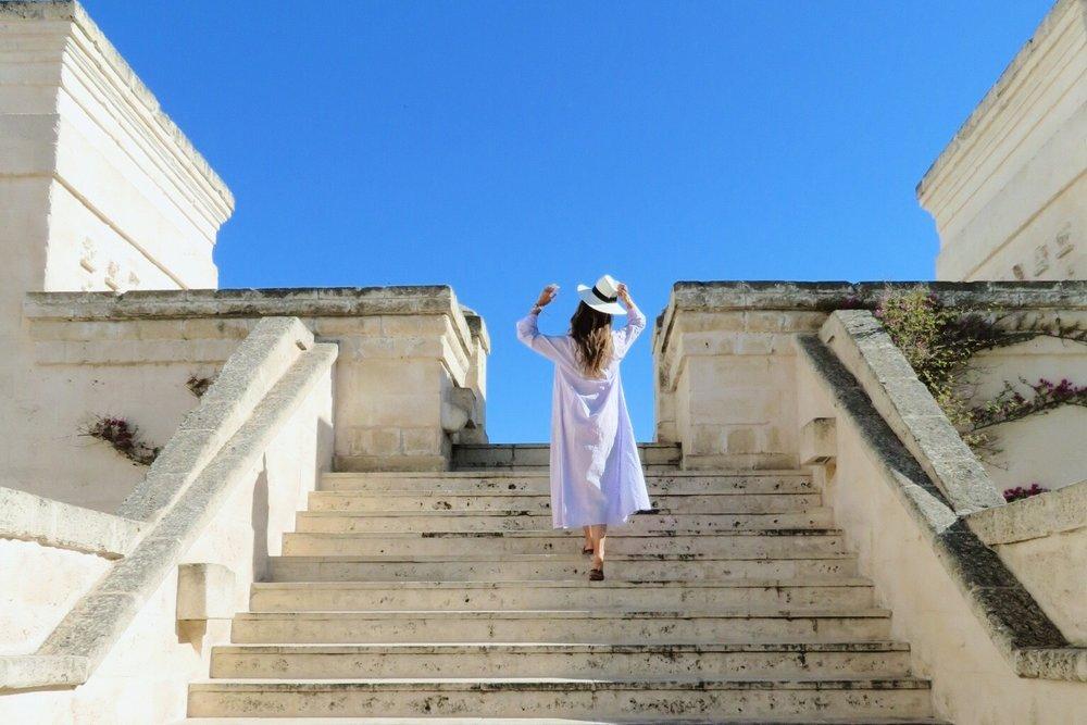 Climbing the steps at  Borgo Egnazia