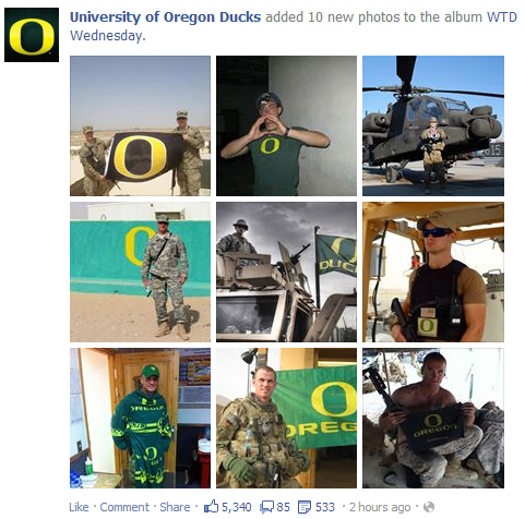 Big time college football + Military = ENGAGEMENT GALORE.