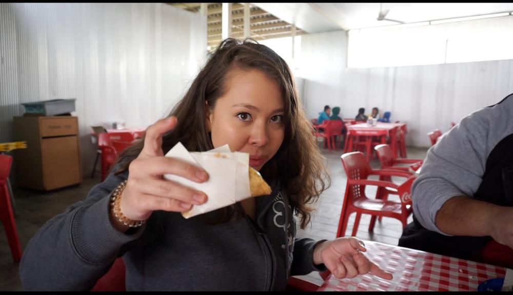 Diana holding a gluten free taco