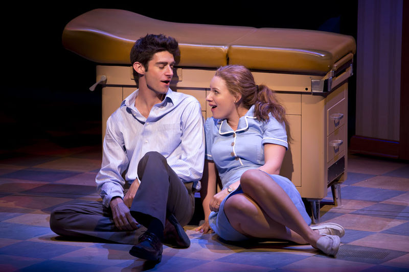 Jessie Mueller and Drew Gehling in Waitress at the American Repertory Theater. (Photo by: Jeremy Daniel)