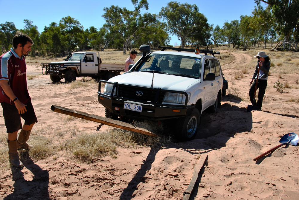 The third vehicle, bogged behind ours. This picture makes it look like it wasn't even in 4 wheel drive mode!
