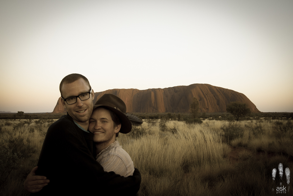 Angus & Mitch see Uluru for the first time, are overcome with emotion. Uluru-Kata Tjuta National Park, Northern Territory, 2012. Photo by Angus Kennedy (somehow?). From  this post .