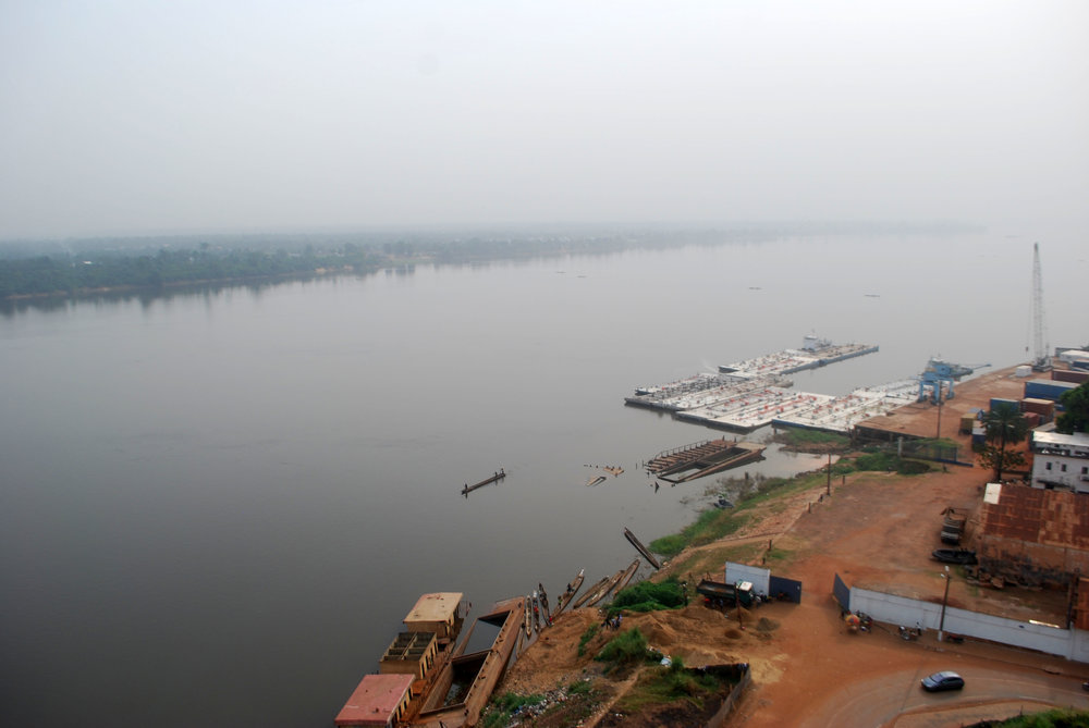 The view from the Skaiky Building over the Bangui River. The opposite bank is a different country, the Democratic Republic of Congo. The haze visible in this picture (and, really, all the pictures) is not pollution but a dust cloud that seasonally blows off the Sahara Desert and is important for fertilizing the rainforest.