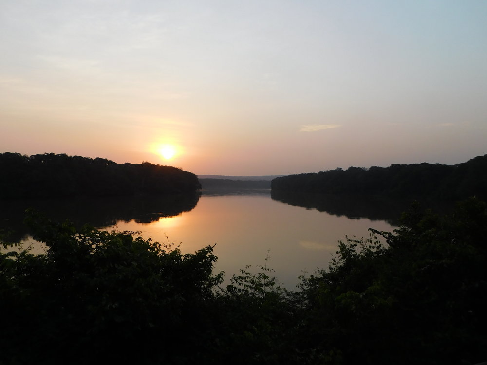 Sunset over the Sangha River from deck at Sangha Lodge.