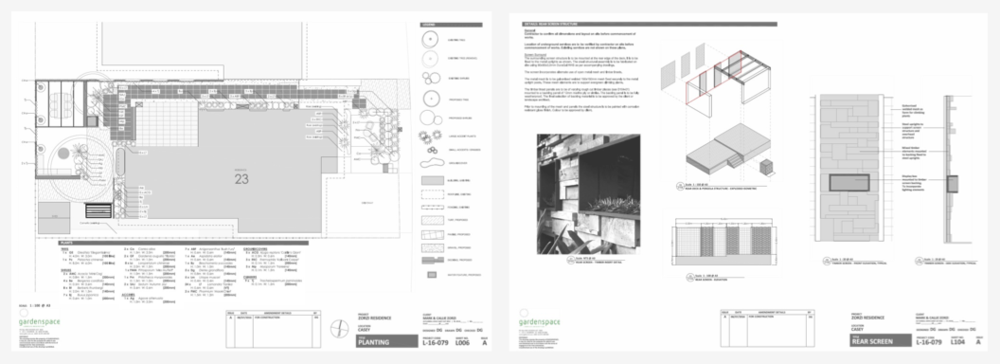 All details are finally put down on paper to provide clear instruction for contractor to execute the installation of the gardens. This level of detail means they can give the client clear detailed budgets and timelines, and gives the client the assurance they will get the garden spaces they expect.