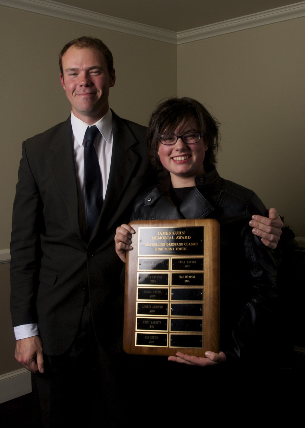 2014's Jim Kuhn Award Recipient  Sian McBride with Martin Kuhn