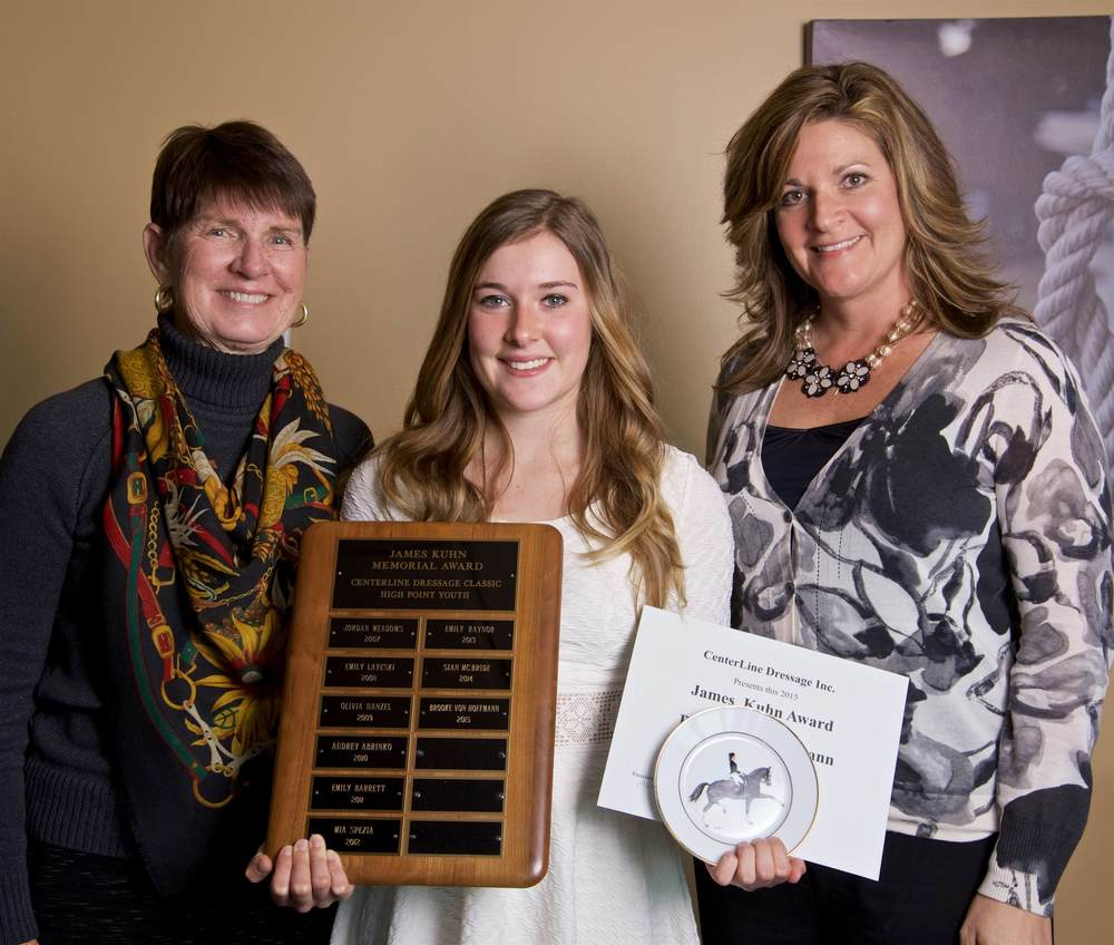 Brooke Von Hoffman receiving the 2015 James Kuhn Memorial High Point Award