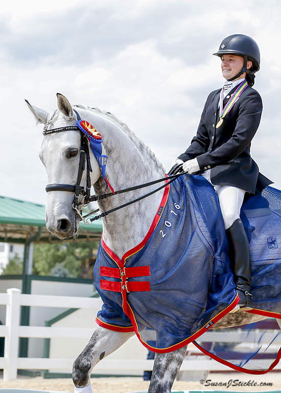 CLD member Jenna Upchurch & Greystoke won Gold Individual; Gold Freestyle; and helped Region 4 win Team Silver at the 2016 NAJYRC in Parker, CO (photo by Susan Stickle)