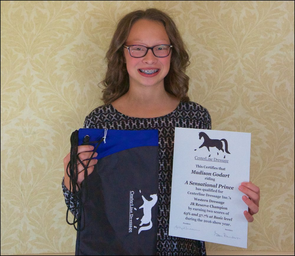 Western Dressage Res. Champion Jr. Madison Godart