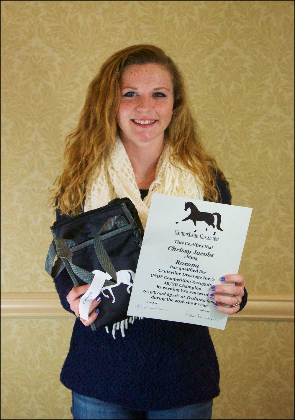 Jr/YR Training Level Champion Chrissy Jacobs