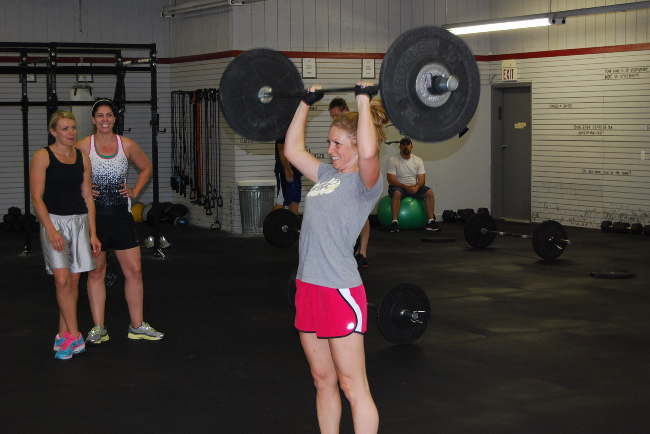 Yep, all 3 of these little ladies were repping that 55lbs!  From L-R (Chelsea, Katie, Lindsay - under bar)