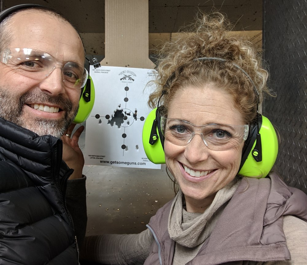 """My girl has got skills! Just out using our fitness testing guns at """" Get Some Guns """" in Layton. It's cool there. For $50.00 two of you can test out any gun they have (there are dozens). It comes with targets, """"eyes,"""" """"ears"""" and 100 rounds of ammo. We bought extra ammo and threw 150 rounds down range. Linds was best with the M&P Shield 9 mm and the Sig Sauer P238 (.380).   We are looking for a good hiking outfit. Not so worried about the 4 legged critters as we are some of the 2 legged ones we run into. Ask us the story about the guy we wandered into on the Zig Zag trail once. Weird fella."""