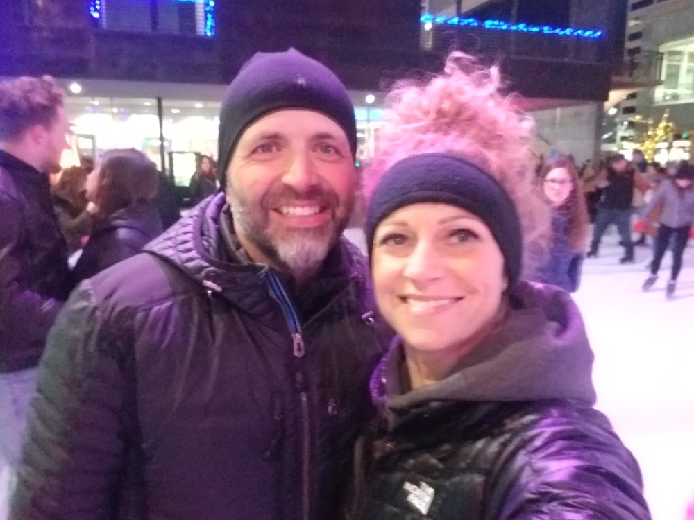 "Linds and I using our fitness at the Gallivan Center on the 2nd night of ""Ho Ho Fest!"""