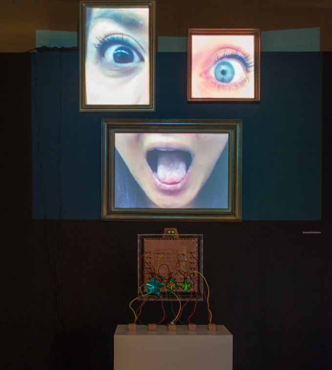 The Bleepy McProtoboard demo in the exhibition space allowed visitors to manipulate an interactive projection. (Photo: University of Texas)