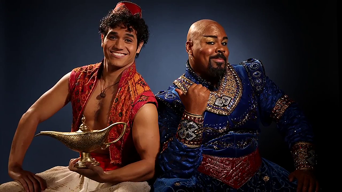 Adam Jacobs and James Monroe Iglehart in Aladdin.