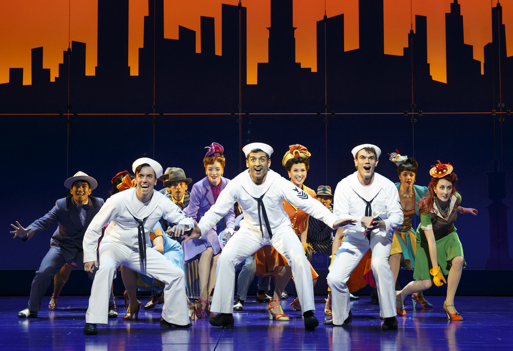 Clyde Alves, Tony Yazbeck, Jay Armstrong Johnson and cast of On The Town, photo by Joan Marcus