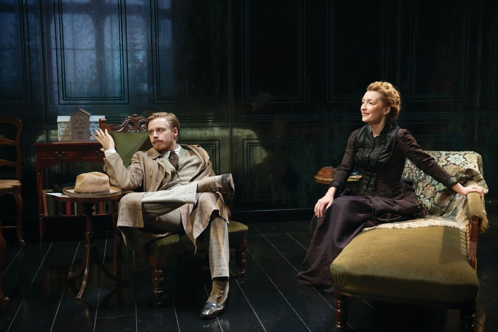 Jack Lowden and Lesley Manville in  Ghosts . Photo by Hugo Glendinning