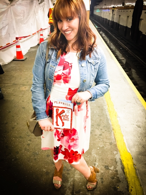 Me, also striking my best Kinky Boots pose while trying to hide my anger at the MTA (25 minutes till the next train? REALLY?) -