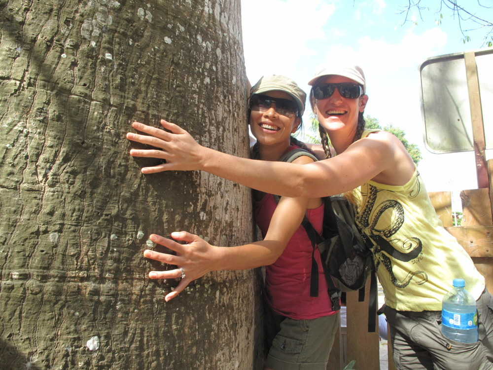 mary and marielle hugging the tree.jpg