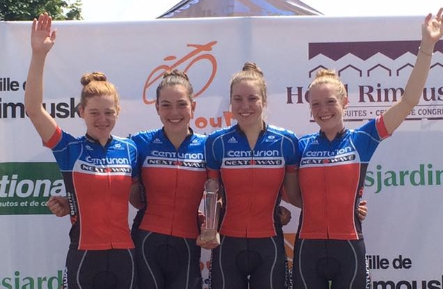 Centurion Next Wave Cycle team Megan Heath, Abbey McGill, Dana Gilligan, Ruby West with Team GC win!