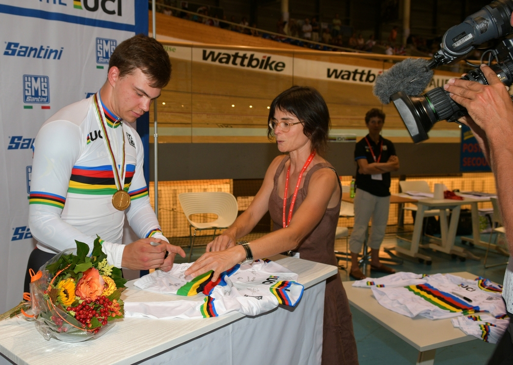 Stefan signs rainbow jerseys, does interviews, and accepts congratulations graciously.