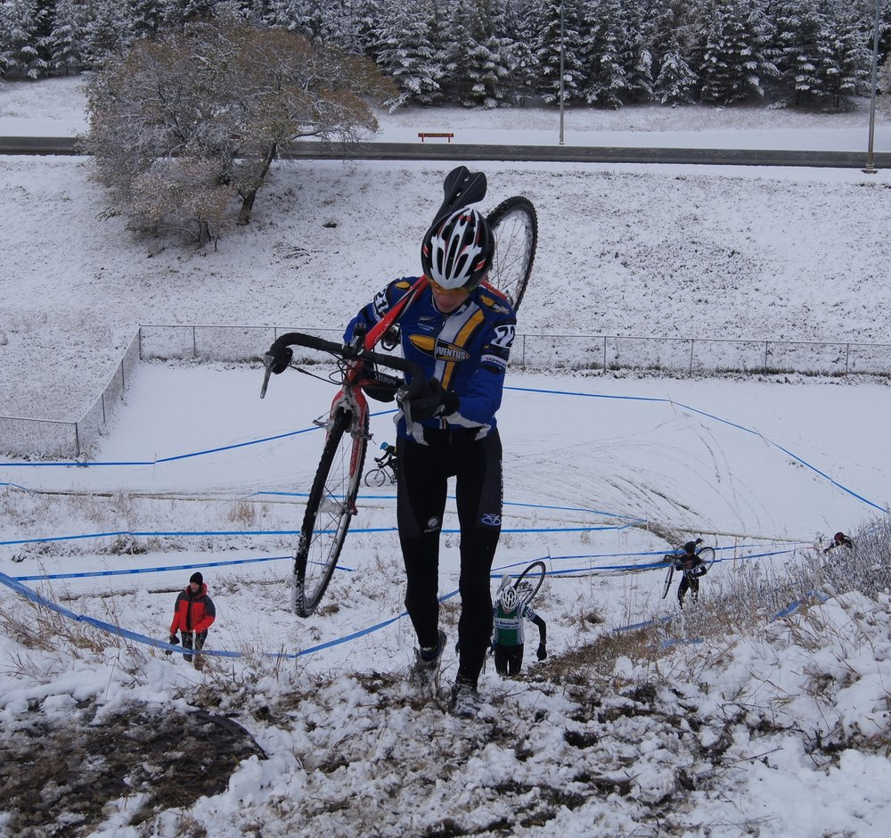 Some of the races this year were on snow . . . Chris Heinemann manages the hill upright!