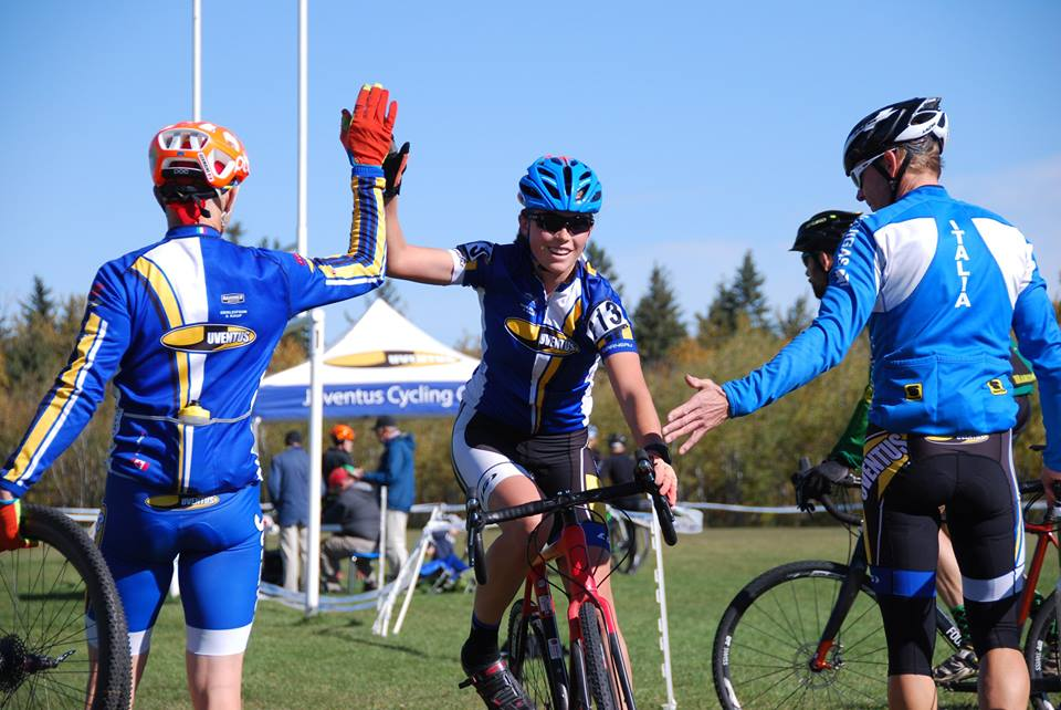 Marin finishes the Jim Horner CX race with high fives from Ken and Tracy - a wonderful feeling!