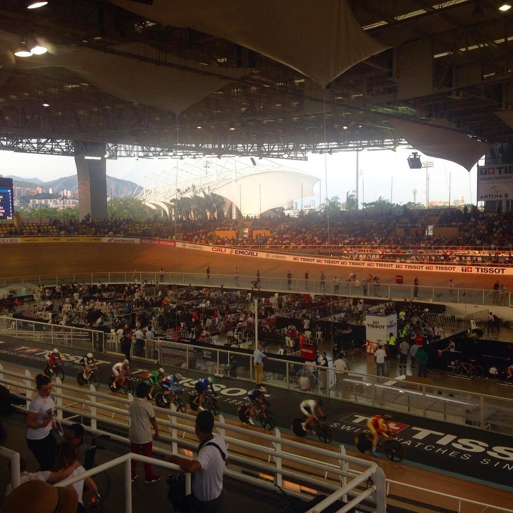 View from the stands - Day 3 women's points race at    Velódromo Alcides Nieto Patiño